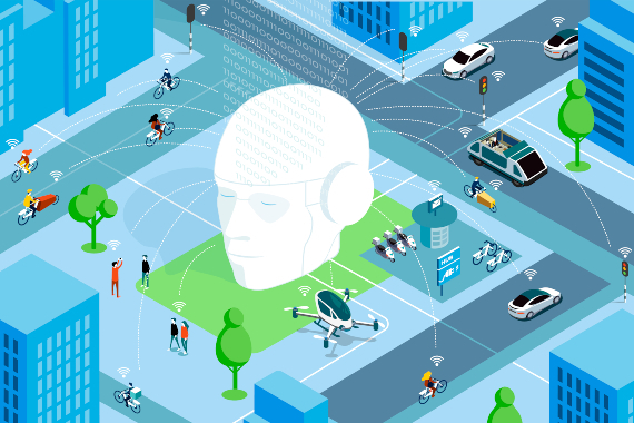 Illustratie smart mobility AI